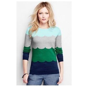 Lands end Supima Scallop Intarsia Sweater